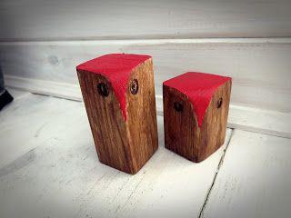 Owl Teak & Red/ Sowa z drewna