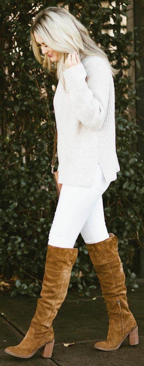 #winter #fashion / Cream Knit + White Skinny Jeans + Camel OTK Boots