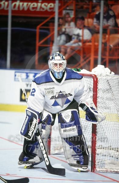 Blades goalie Sean Gauthier   in action during a Roller Hockey International RHI indoor inline hockey game.