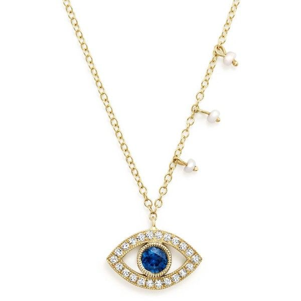 Meira T 14K Yellow Gold Blue Sapphire and Diamond Evil Eye Necklace,... (48.375 RUB) ❤ liked on Polyvore featuring jewelry, necklaces, 14k gold necklace, blue sapphire diamond necklace, gold necklace, diamond necklace and evil eye jewelry