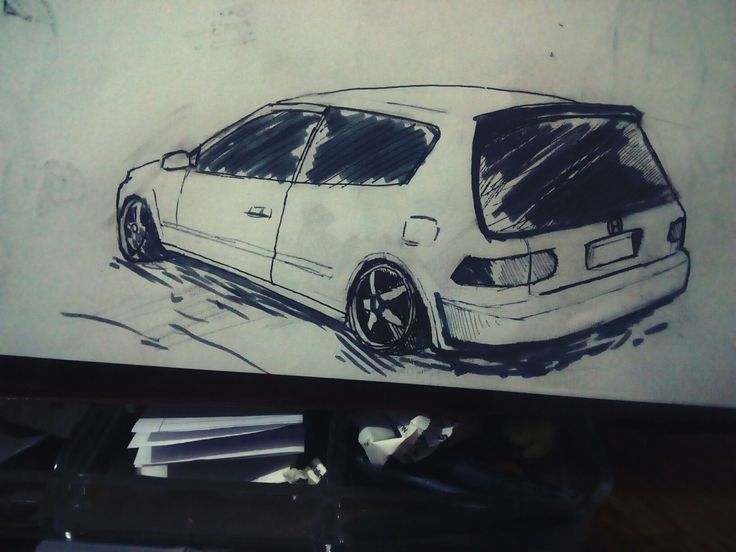 Honda Car Drawing İllustration İllustrator