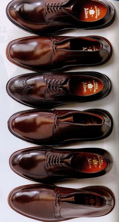 Alden Shoes. (from top) Split-toe, Chukka, Wingtip, etc. Hand made in New England since 1884