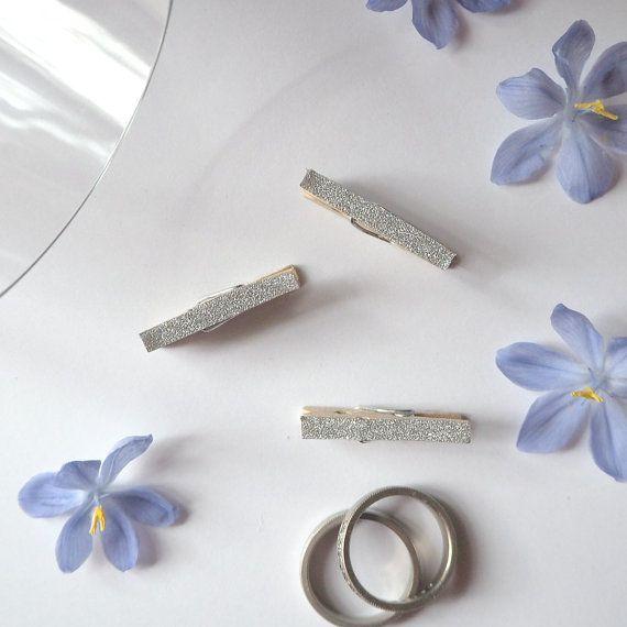 Silver Glitter Mini Pegs by kaetoo on Etsy