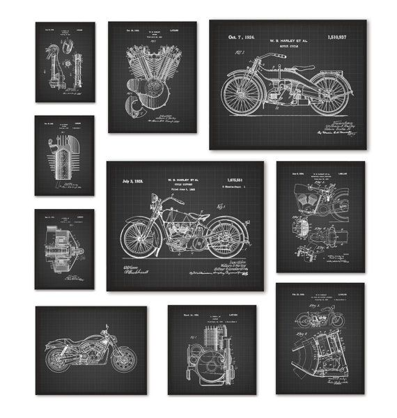 Harley Davidson Motorcycle Patent Prints Set of by QuantumPrints