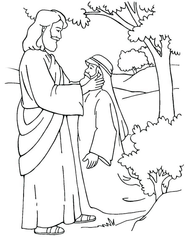 Heals The Blind Man Coloring Pages Download Printable Jesus ...