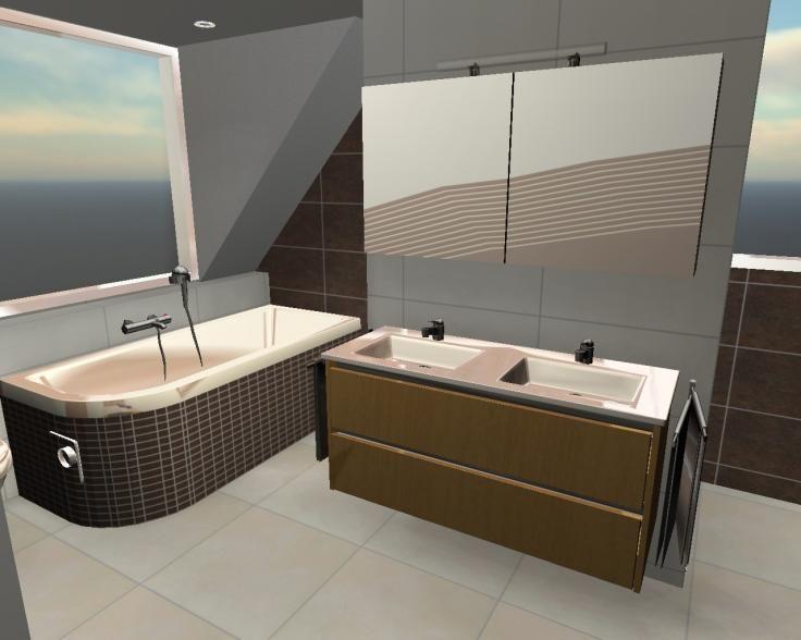 Badkamer beek ubbergen in 3d teken ontwerp programma badkamer ontwerp - Porcelanosa tegel badkamer ...
