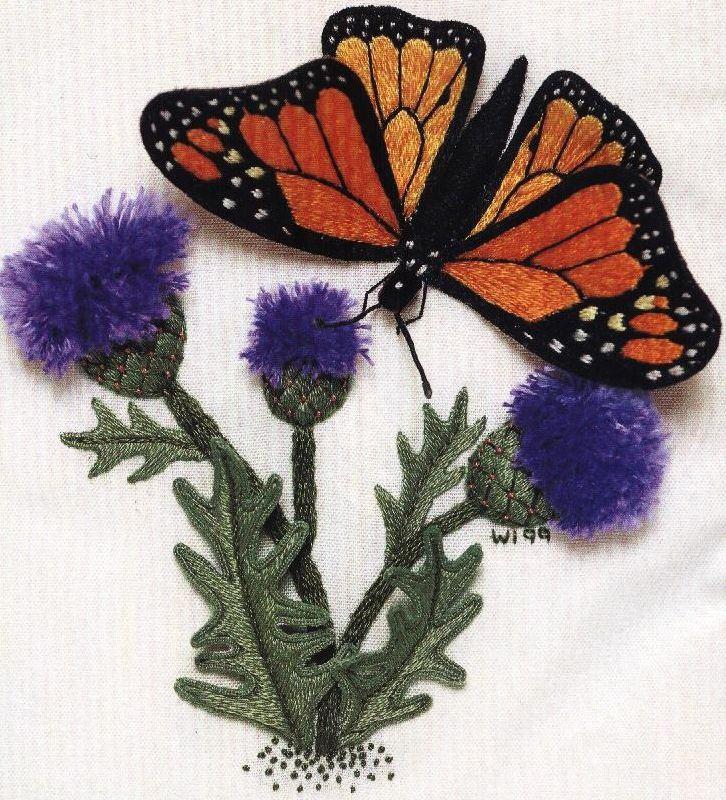 Бабочка-монарх. Объемная вышивка МК