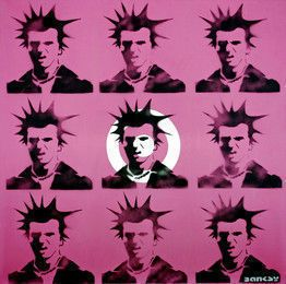 This is Banksy's painting of Sid Vicious, [graffiti] who was an English bass guitarist and vocalist, most famous as a member of the influential punk group the Sex Pistols.