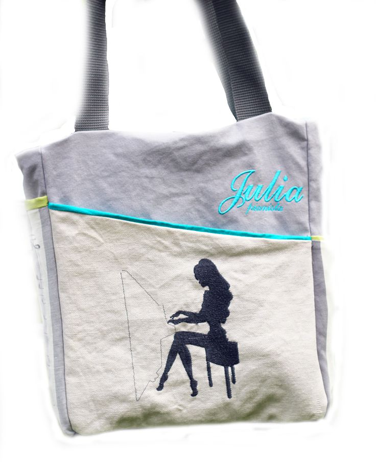 artistic bag PIANISTA, embroidered with music motifs, treble clef