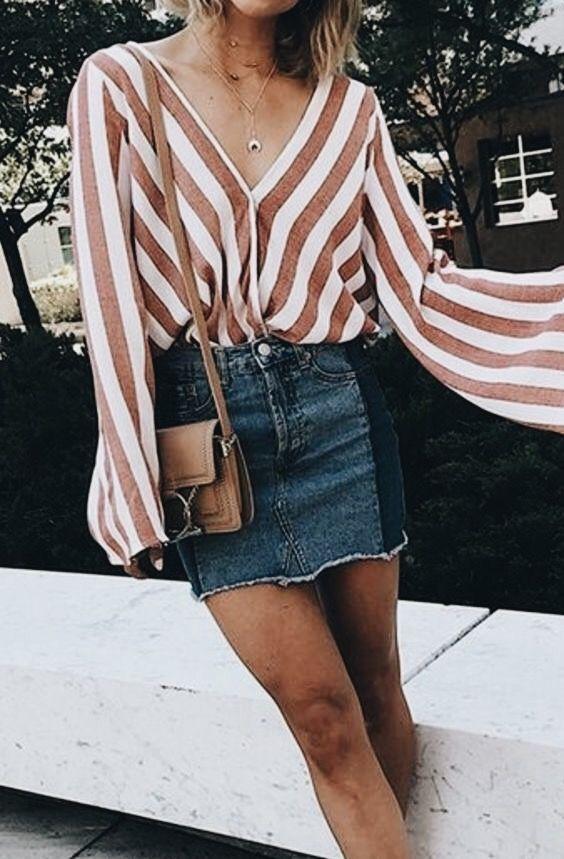 Striped top + denim mini.