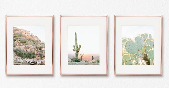 Created from fine art photographs taken on a trip to the beautiful Arizona desert, this colorful southwestern cactus 8x10 print set is the perfect collection of wall art to bring your interior design together and make your house feel like home.  This set includes the 3 8x10 prints pictured.