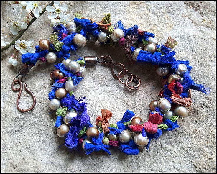Pure Silk Necklace, boho style, rustic, etnic, bohemian, handmade, womens jewelry, sari silk, row pearls, original by TheWoodlandNostalgia on Etsy