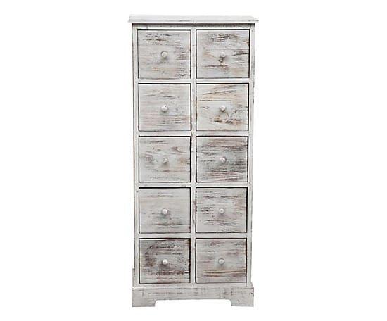 Cassettiera 10 cassetti in legno Sarah bianco decapato - 50x30x114 cm