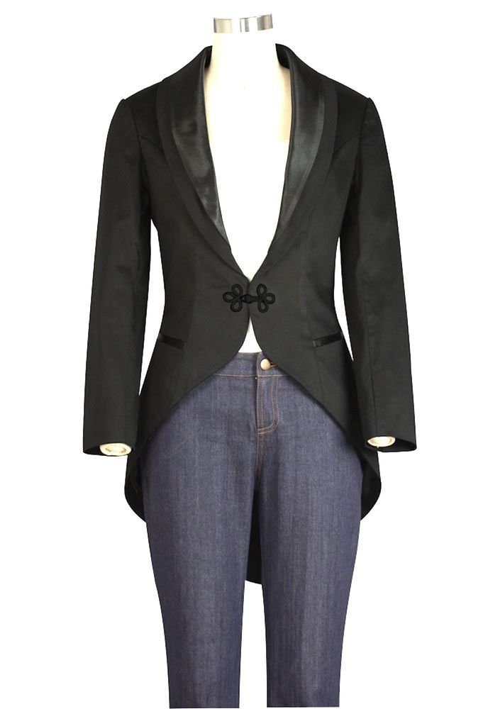 Black Gothic Tuxedo Penguin Tail Frog Clasp Vamp Fitted Jacket