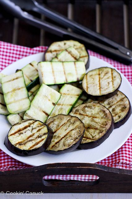 Grilled Eggplant & Zucchini Salad Recipe with Feta, Chickpeas & Mint | cookincanuck.com #vegetarian #recipe by CookinCanuck, via Flickr