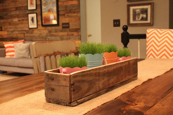 Rustic Wooden Planter Centerpiece Box by LennyandJennyDesigns