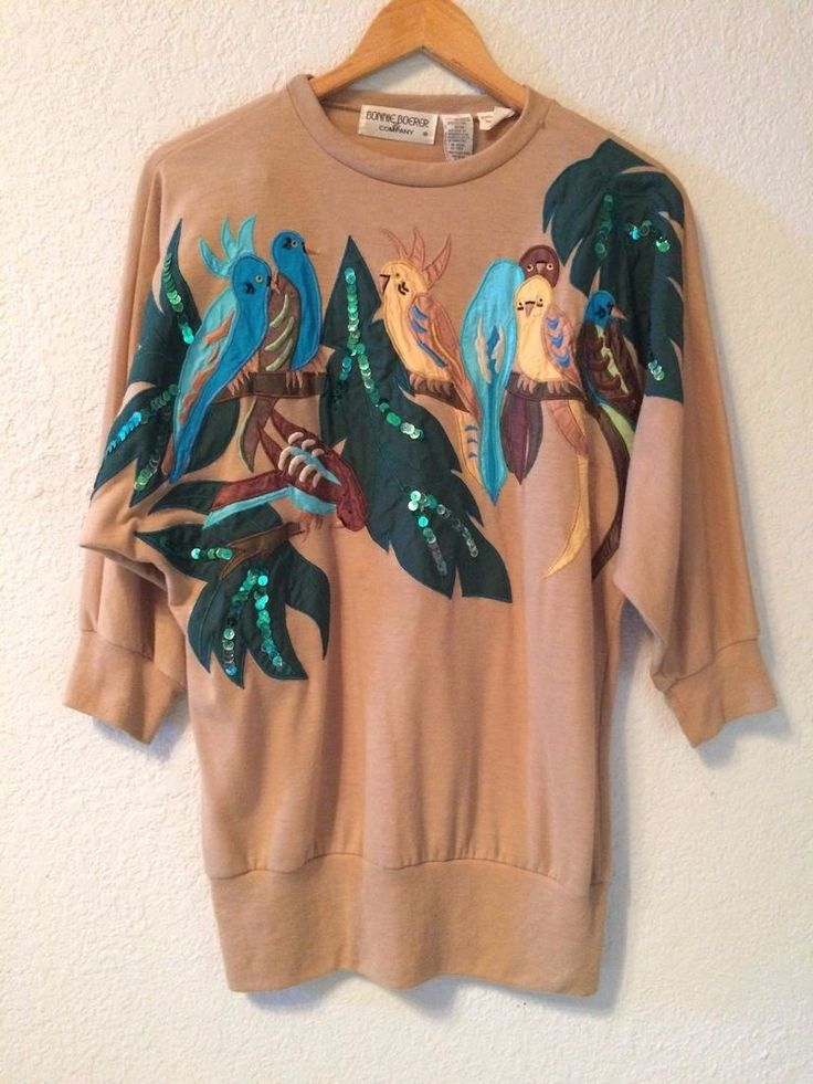 bonnie boerer & company #80s gorgeous bird sequin embroidery top blouse s/p from $23.99