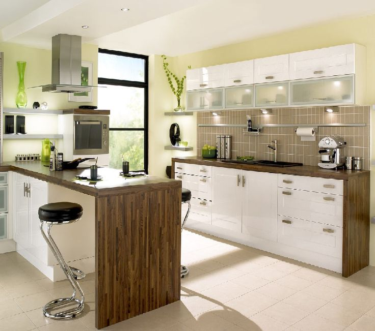 Contemporary Kitchen Design Ideas With Tall Tile Floor Also Wooden Kitchen  Island With Modern White Kitchen Cabinet Also Unique Kitchen Stoo. Part 54