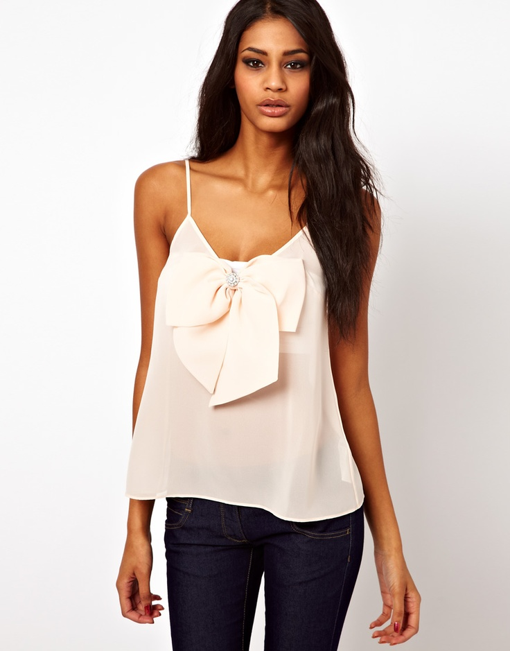 Cami with Pearl Detail Bow Front