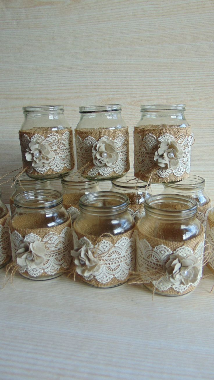 This listing is for a set of 12 hand-decorated jars. Decorated with burlap