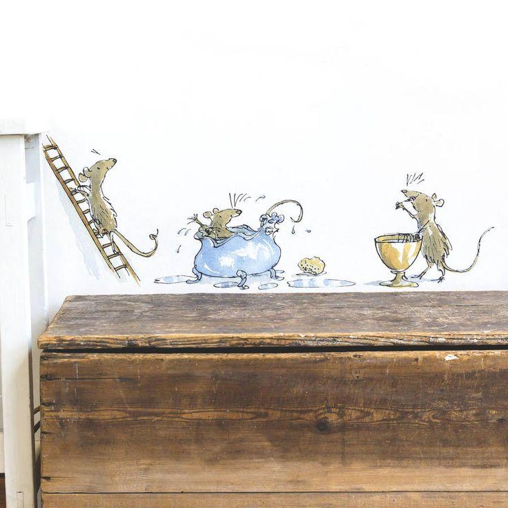 adorable mice roald dahl wall sticker by oakdene designs | notonthehighstreet.com