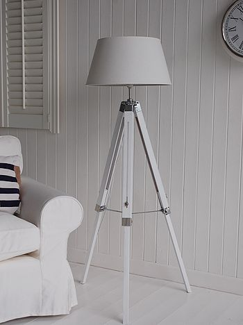 White wooden tripod floor lamp. Ideas and designs in furniture and accessories for decorating your white home from The White Lighthouse www.thewhitelighthousefurniture.co.uk