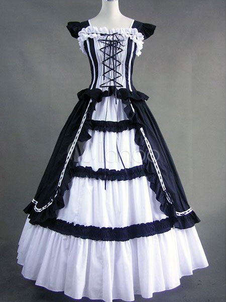 Steampunk - Gothic Victorian Black and White Long Lolita Dress