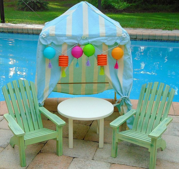 American Girl Doll BEACH CABANA ADIRONDACK CHAIRS Pool Tent Furniture  Kanani Lea