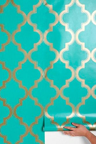 """Gorgeous and glamorous Moroccan-inspired wallpaper for your closet, bedroom, or hallway. Couldn't love that gold more!""    Urban Outfitters Marrakesh Honey Wallpaper, $98, available at Urban Outfitters."