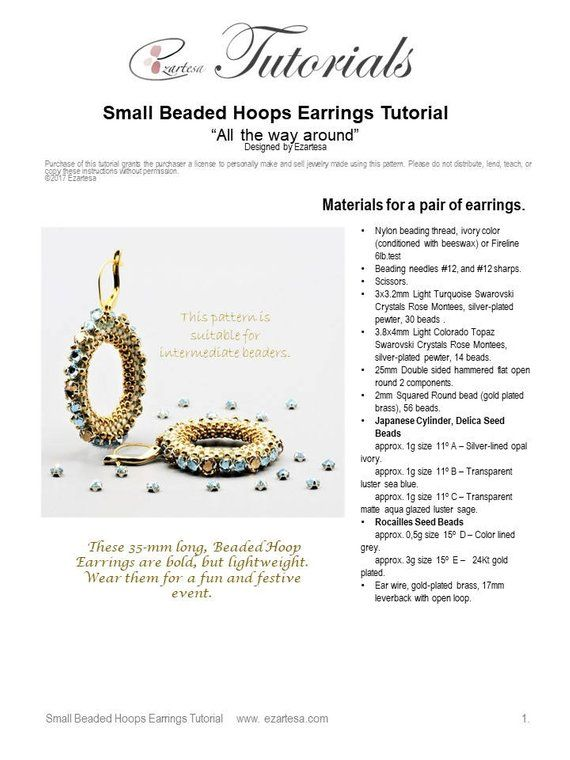 Beaded Small Hoops Earrings Tutorial, Pattern with Glass Seed Beads
