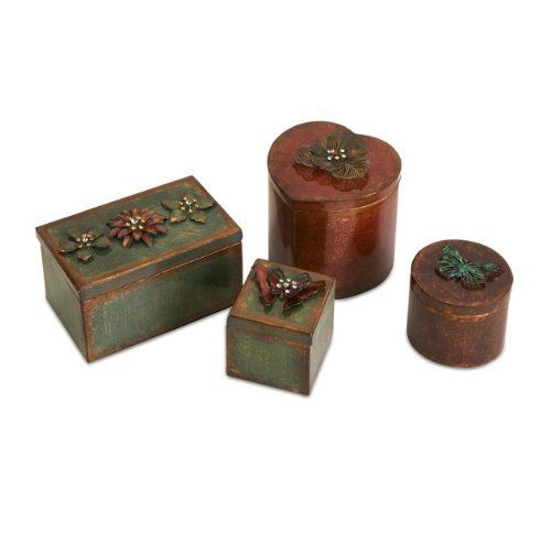 4 Decorative Storage Boxes by Gordon Companies, Inc. $96.00. Picture may wrongfully represent. Please read title and description thoroughly.. This product may be prohibited inbound shipment to your destination.. Shipping Weight: 6.00 lbs. Brand Name: Gordon Companies, Inc Mfg#: 30678550. Please refer to SKU# ATR25765399 when you inquire.. 4 decorative storage boxes/floral design/3-4.5''H x 2.5-5.25''W x 2.5-4''L/made of wrought iron & acrylic/you get 1 of each style pictured