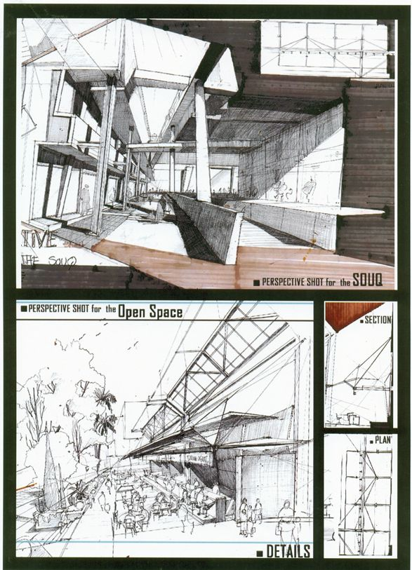 University Sketches by Dina Haddadin, via Behance