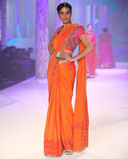 Monarch Orange Sari with Embroidered Blouse - JJ Valaya - The BMW Shows - Off The Runway