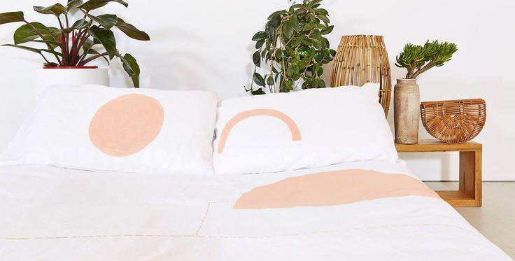 Blush Minimal Rainbow Pillowcase
