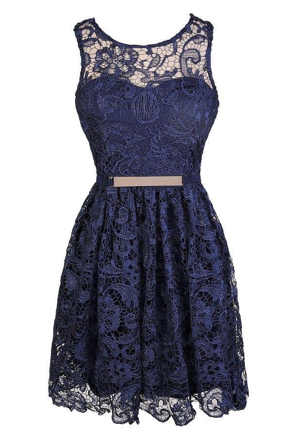 donkerblauw kanten jurkje