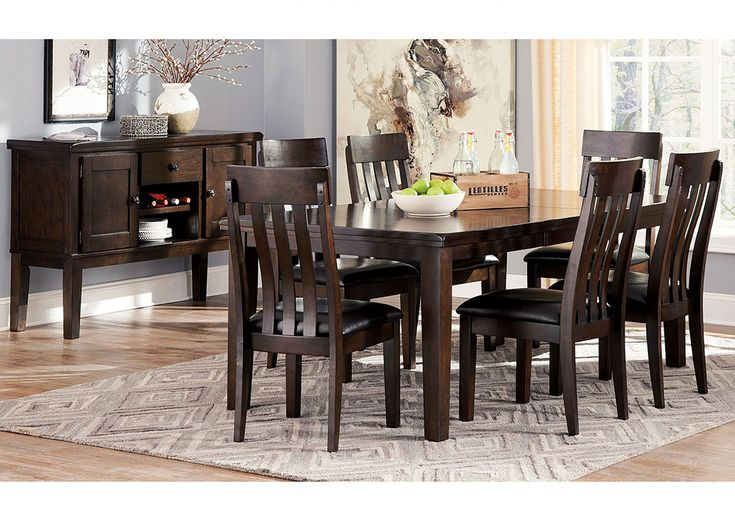 Haddigan Dark Brown Rectangle Dining Room Extension Table w/ 6 Upholstered Side Chairs,Signature Design by Ashley