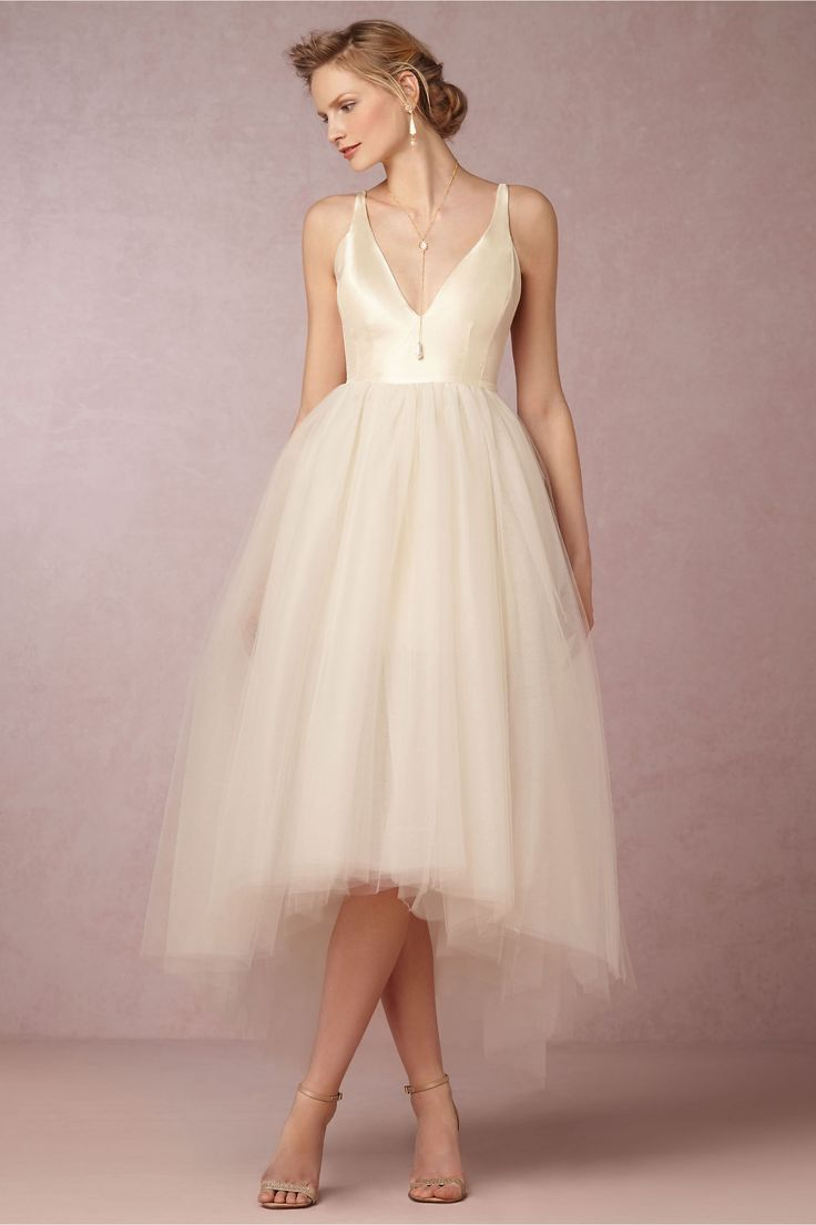 I LOVE the top of this dress!! Not that into the bottom but this is from the Anthropologie wedding boutique that has a gorgeous vibe to it's lookbook, check it out!! Also mum totally random but this necklace could totally be the answer to those gems. -Gillian Tulle Dress in Bride Wedding Dresses at BHLDN