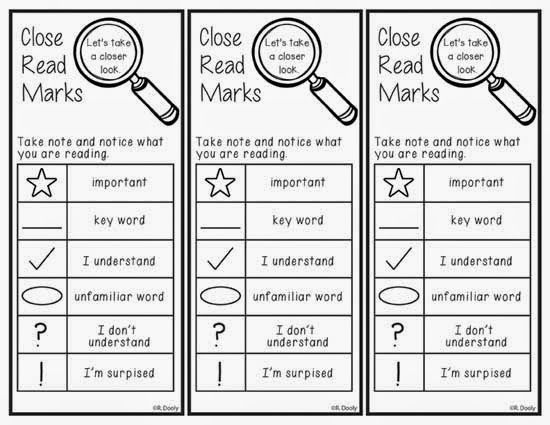 Close Reading Markings bookmarks freebie