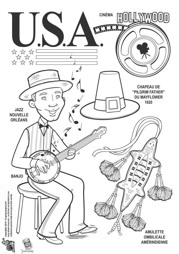 Coloriage / dessin enfant USA, Jazz et Hollywood