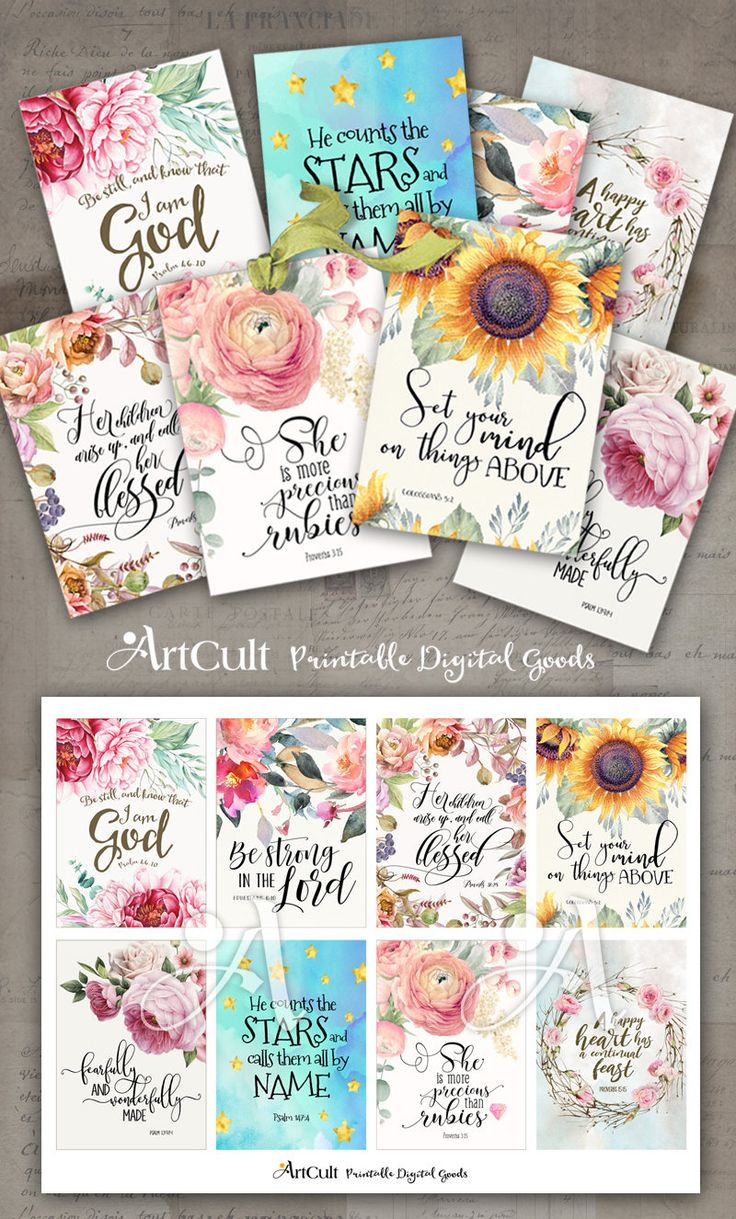 "Printable download BIBLE VERSES TAGS No.15 Scripture Art eight 2.5""x3.5"" size hang tags digital collage sheet greeting cards ArtCult designs by ArtCult on Etsy"