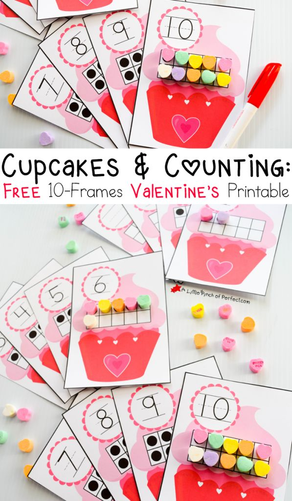 Free 10-Frames Valentine's Day Math Printables with hearts and cupcakes-perfect for learning numbers, counting, writing, subitizing