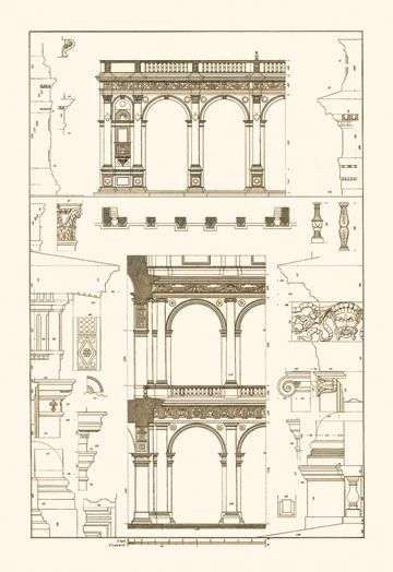 Porch of the Cathedral of Spoleto and Arcade from Palazzo Farnese 24x36 Giclee