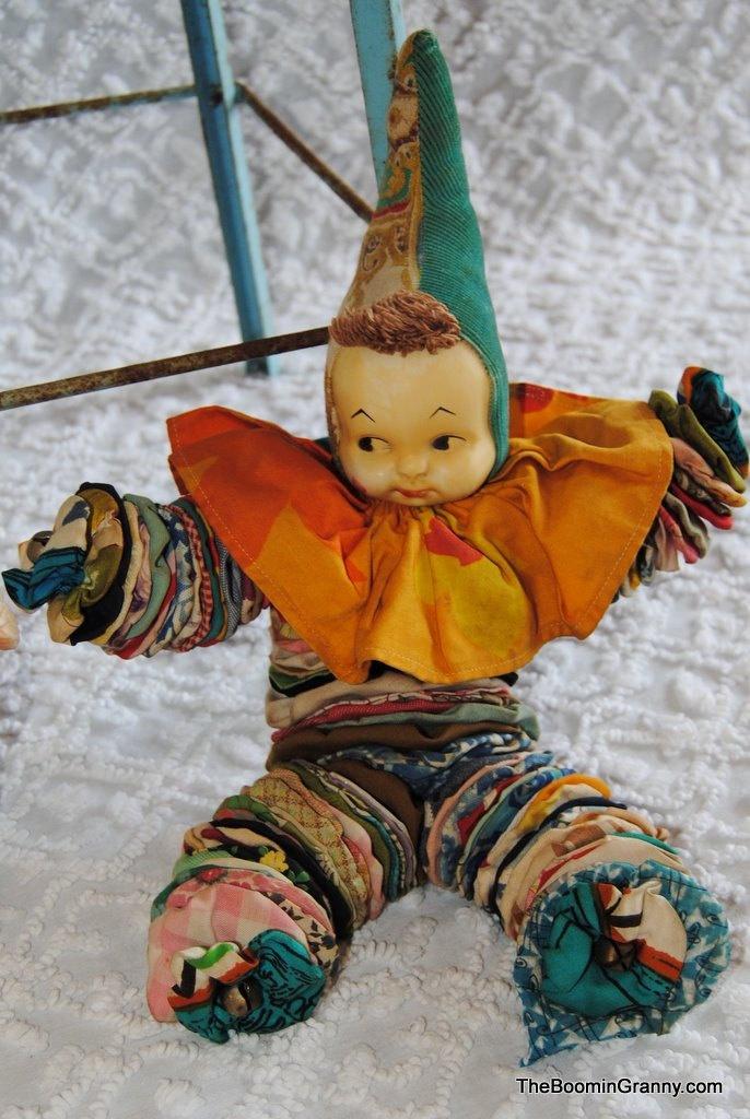 Vintage Fabric Yo Yo Clown Doll. My grandmother made these!