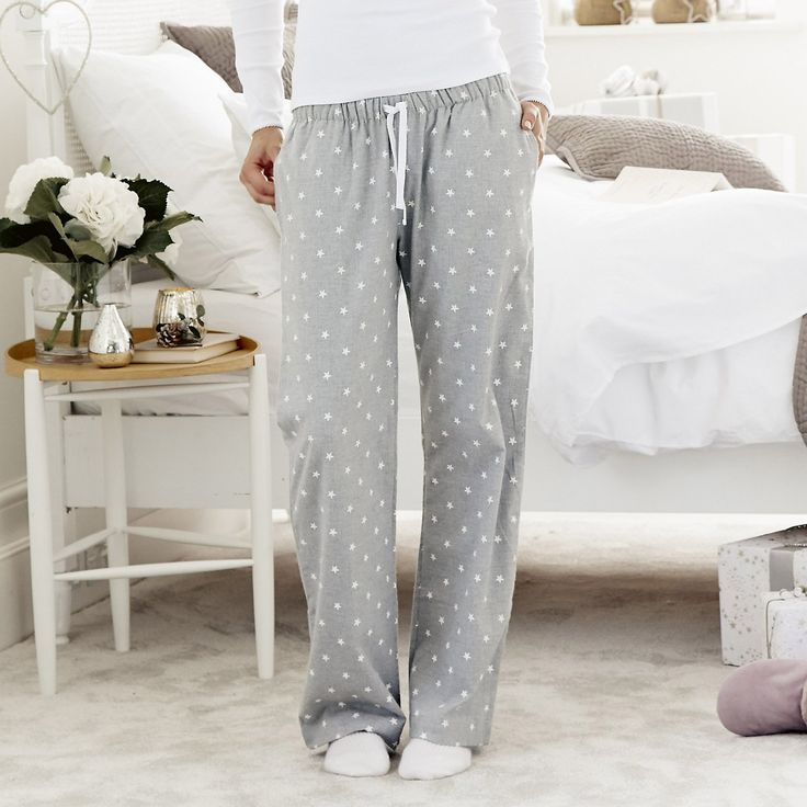 Star Flannel Pyjama Bottoms - Silver Grey Marl | From The White Company | Price £38