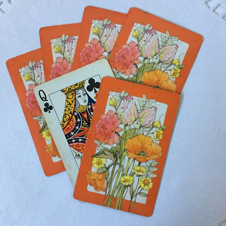 Set of 6 Assorted Vintage Bridge Playing Cards // Wildflower Set with Orange Trim // Bright vintage color graphics // USED condition and free from rips, tears or creases // Perfect for arts and crafts, journaling or scrapbooking    #vintagehome #vintagestyle #loveinstavtg #usmcvet #shopsmall #instagramshop #vintageshop #vintageseller #vintagelife #vintageephemera #artsandcrafts #junkjournals #scrapbooking #smashbook #smashjournal #bunting #craftingsupplies #vintageprints #halloweenbooks…