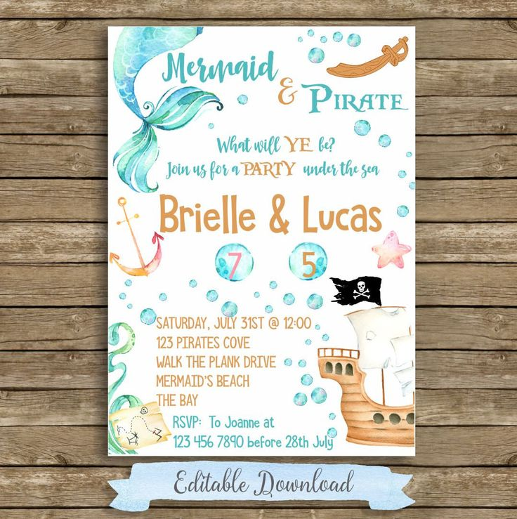 Mermaid And Pirate Birthday Invitation Sibling Mermaid & Pirate Invitation Sibling Girl Boy Combined Birthday Invite Mermaid Pirate Party by iCandyPartyPrintable on Etsy