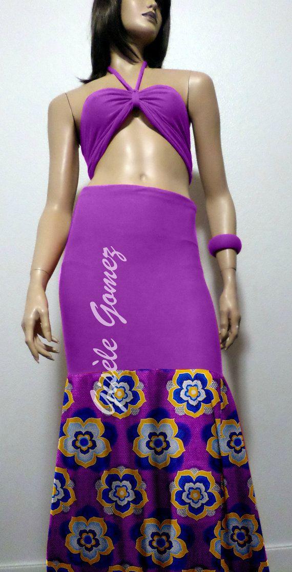 Multiway 2-tone African print Mermaid Skirt; Mamiwatah is in Purple Lycra & Ankara Wax and transforms into dresses/Skirts - Handmade in USA