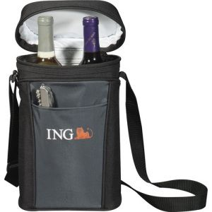 Pacific Trail Wine Tote. Exclusive Leed's design. Tote holds two 750 ml wine or beverage bottles. Interior divider allows for two bottles or one bottle and accessories. Front open pocket for opener or accessories. Adjustable shoulder strap and leak proof lining.