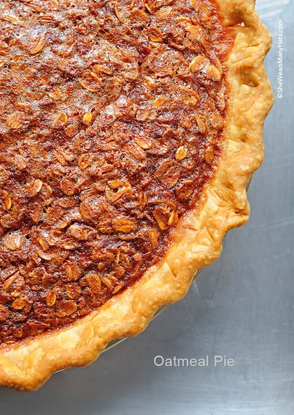 Oatmeal Pie is similar to Pecan Pie and oh so wonderful for any dessert menu. shewearsmanyhats.com