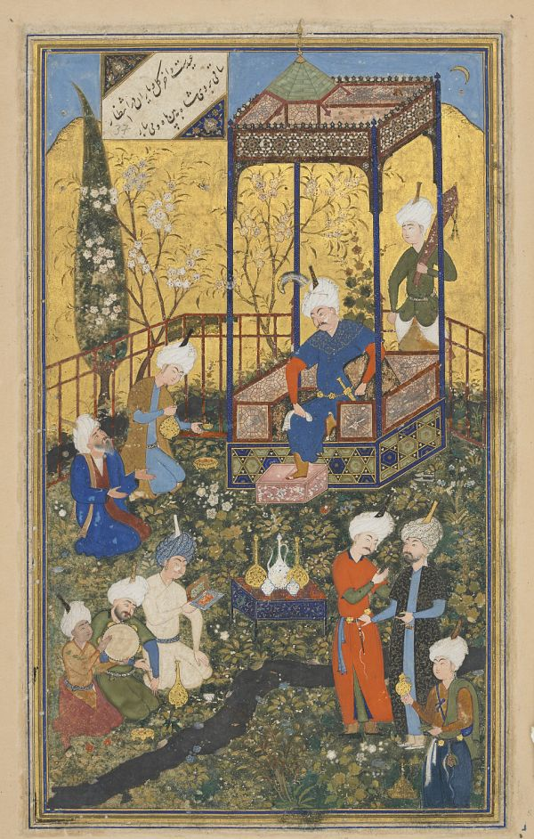 Folio from a Divan (collected poems) by Hafiz (d. 1390); recto: text, Poem of wisdom of love, beauty, and celebration of time; verso: illustration and text, Feast of 'id  TYPE Detached Manuscript folio MAKER(S) Calligrapher: Sultan Muhammad Nur Artist: Shaykhzade HISTORICAL PERIOD(S) Safavid period, 1523-24 (930 A.H.) MEDIUM Opaque watercolor, ink and gold on paper DIMENSION(S) H x W: 30 x 18.9 cm (11 13/16 x 7 7/16 in) GEOGRAPHY Afghanistan, Herat